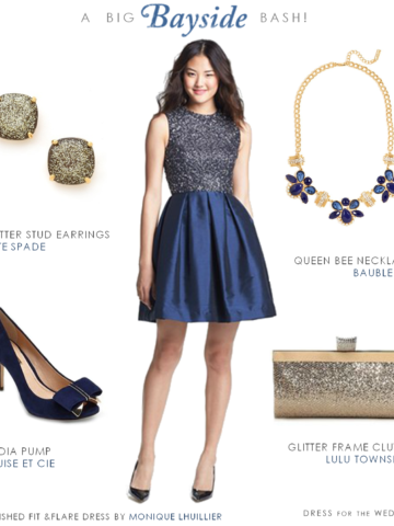 Blue SequinTop Fit and Flare Dress
