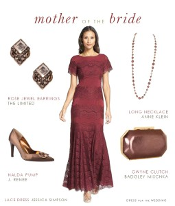 Burgundy Lace Dress for Mother of the Bride