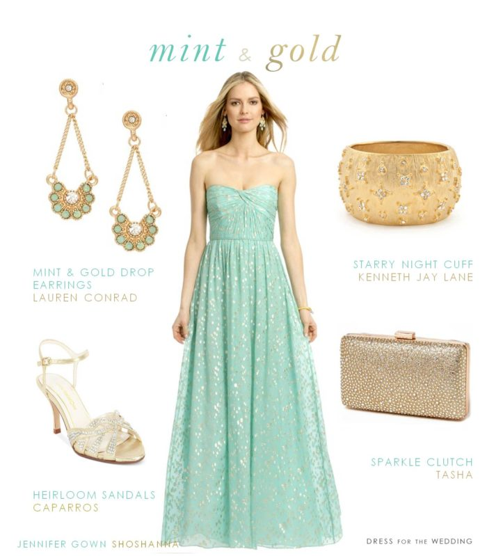 Mint and Gold Dress for a Wedding