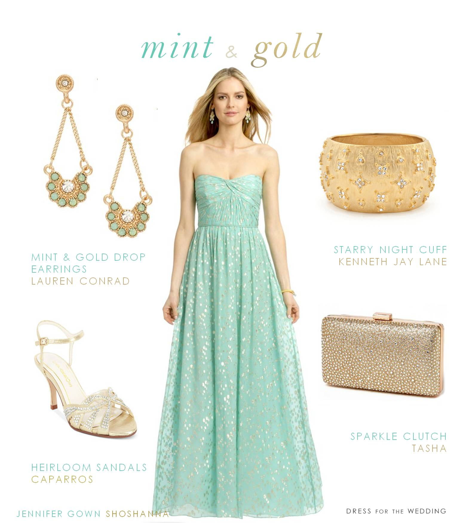 Mint and Gold Dress