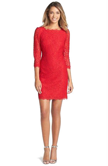 Red lace short dress with long sleeves