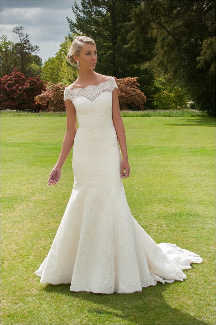skylar by augusta jones a lace wedding dress with lace neckline and
