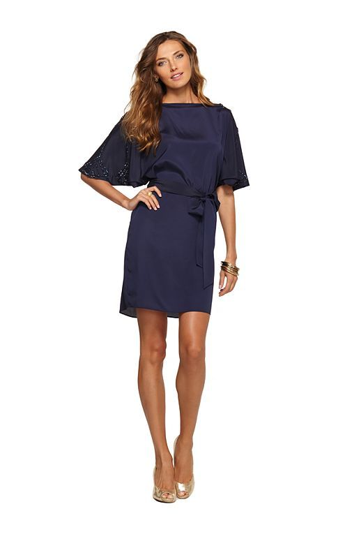 Tunic style navy blue bridesmaid dress