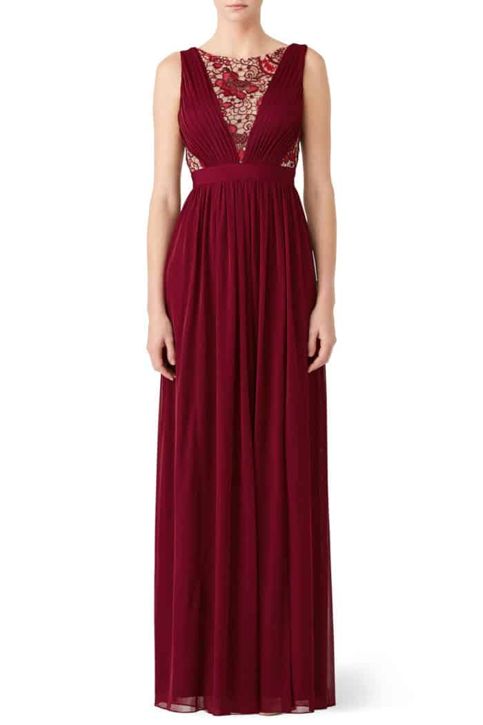 red formal dress with cutouts