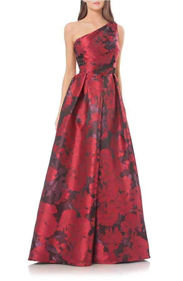 one shoulder red print ball gown