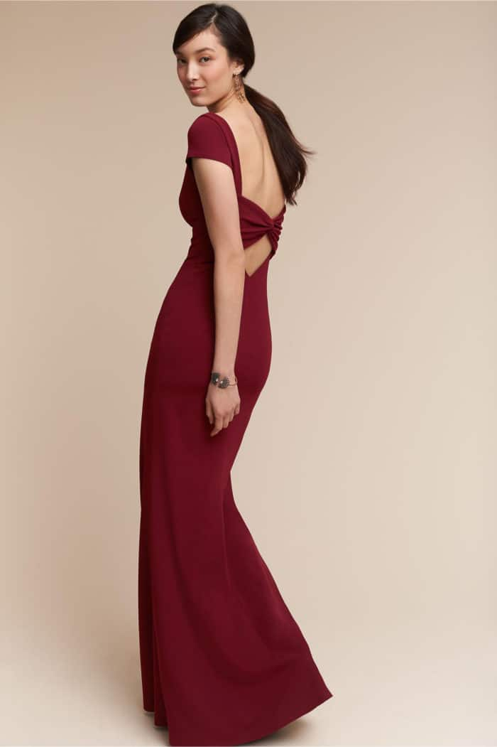 formal red gown for a wedding