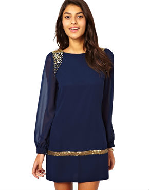 shift dress with sleeves and sequins