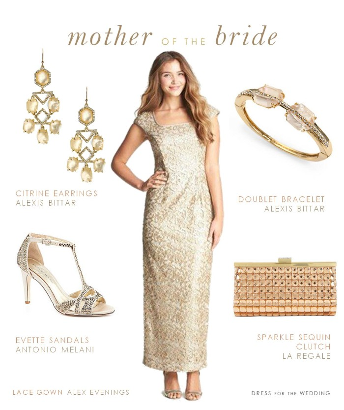 Champagne Gold Lace Mother of the Bride Gown