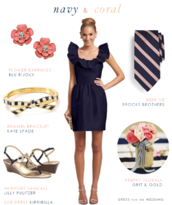 Navy and Coral Nautical Preppy Wedding Look