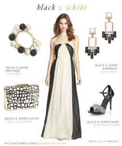 Black and White Formal Gown for a Bridesmaid