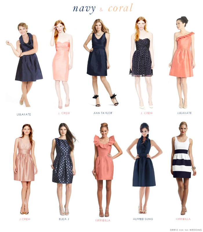 navy and coral bridesmaid dresses
