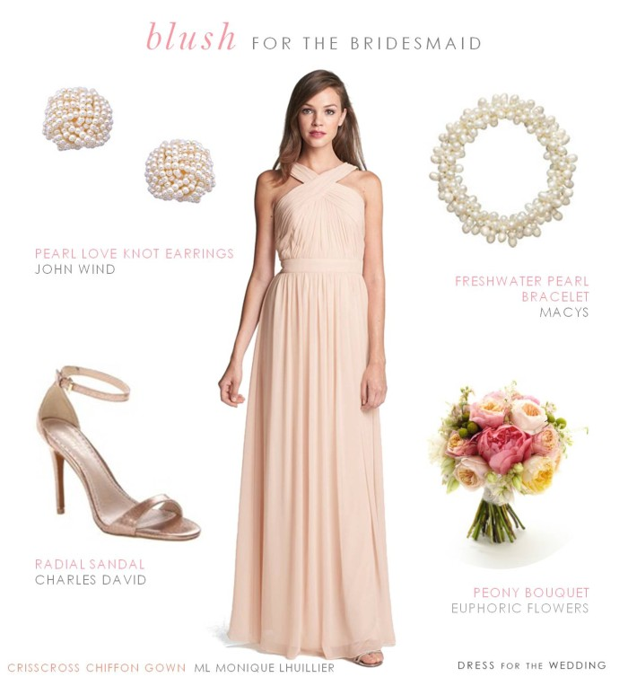 Blush floor length bridesmaid gown by Monique Lhuillier like those worn on The Bachelor wedding