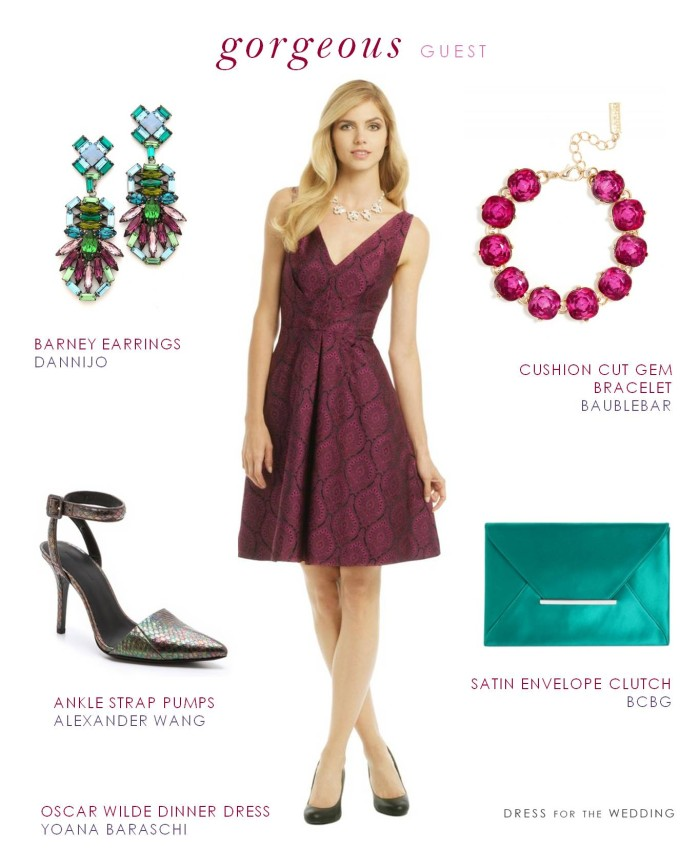 Burgundy Dress and Jewel Tone Accessories