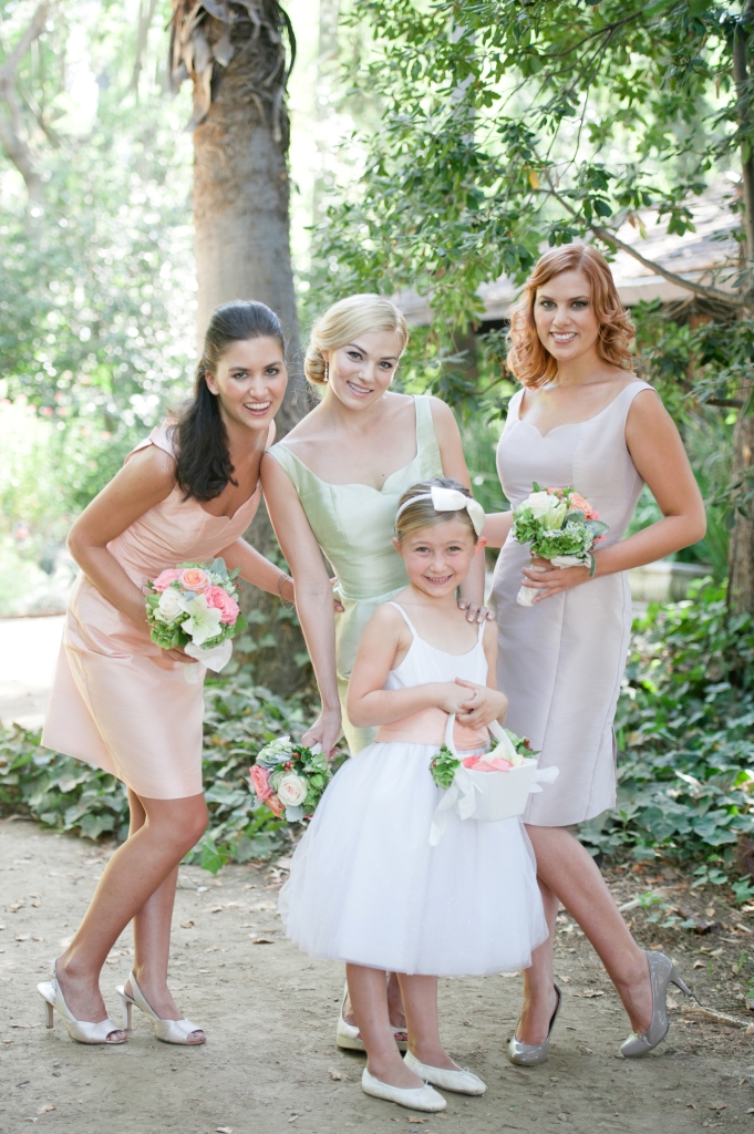 Pastel Bridesmaid Dresses and flower girl dress by Anna Elyse ( Photo by Lizzi Photography)