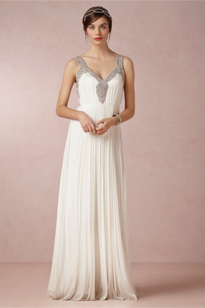 Tia Wedding Dress with embellished neckline
