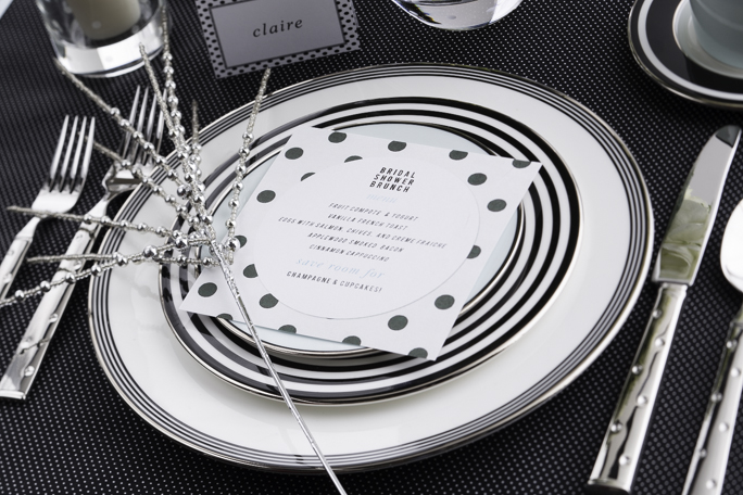 kate spade bridal shower invite and parker place place setting