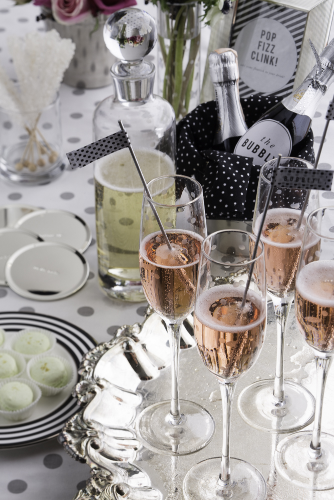 pink champagne bridal brunch with kate spade theme