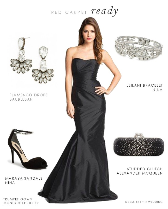 Black strapless formal gown for How to dress for an evening wedding
