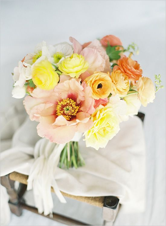 Wedding Flowers Red And Yellow : Yellow and peach wedding style