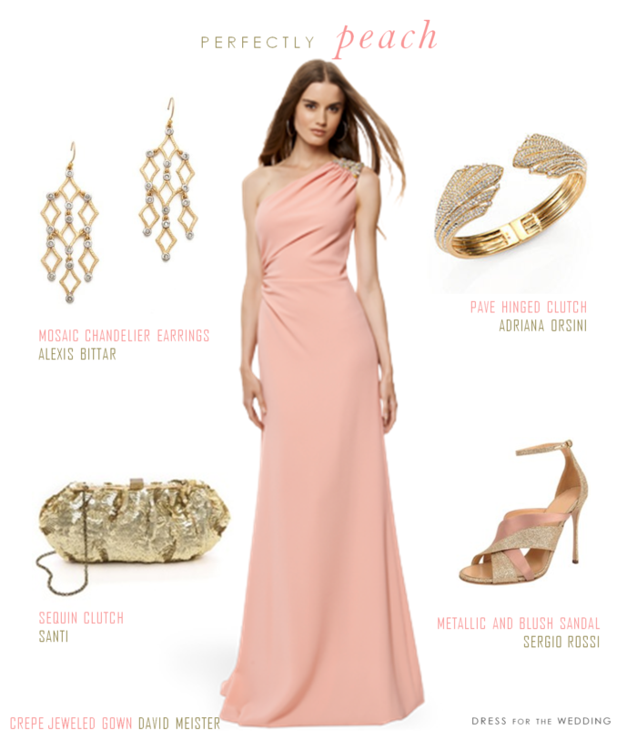 Pretty peach gown for How to match jewelry with prom dress