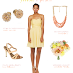 Yellow and Peach Wedding Style Yellow Strapless Bridesmaid Dress with Peach Accessories