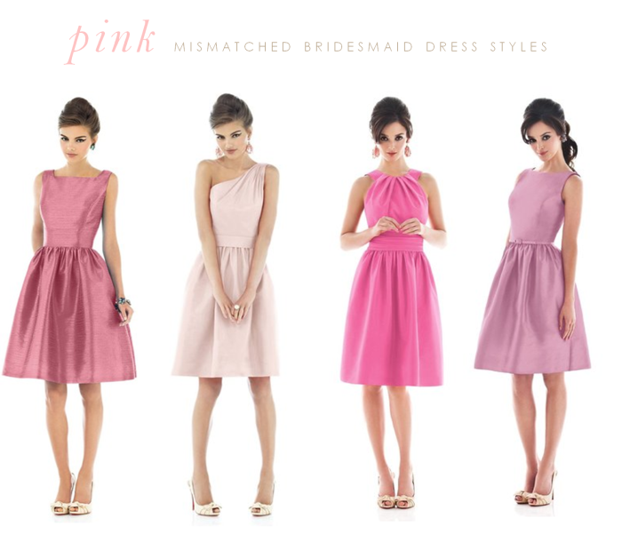 pale to bright pink bridesmaid dresses mismatched style