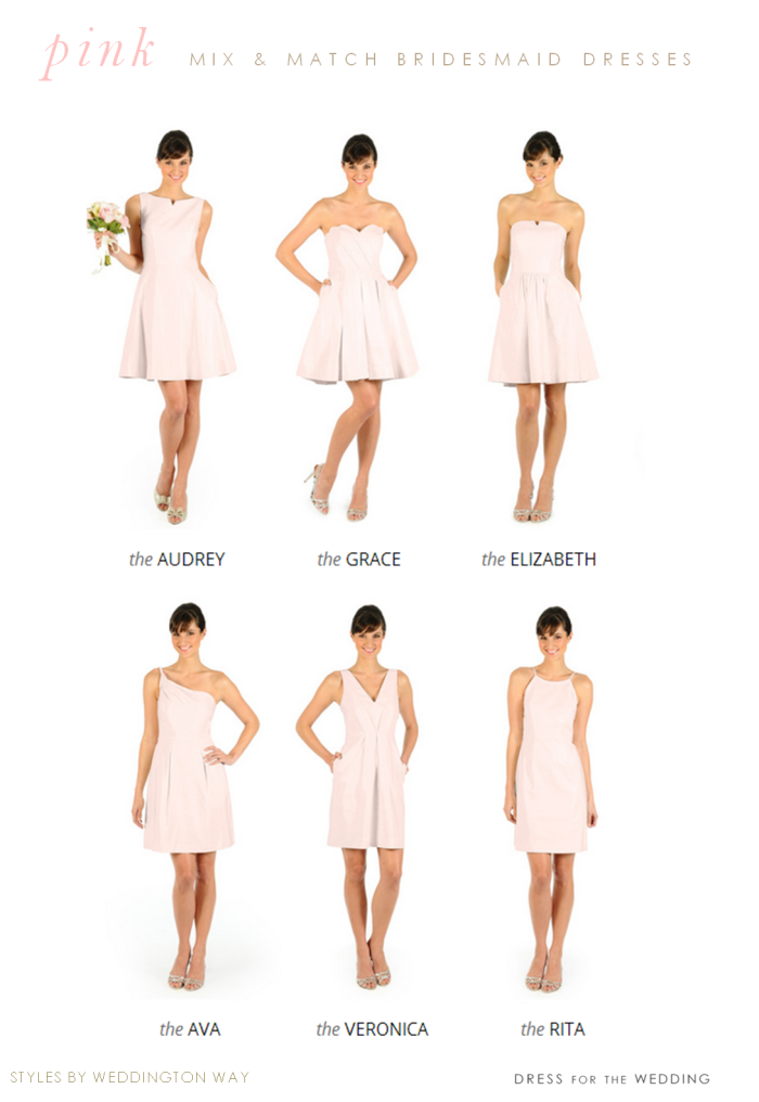 pink bridesmaid dresses with different necklines and styles