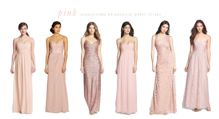 pink mismatched bridesmaid long gowns