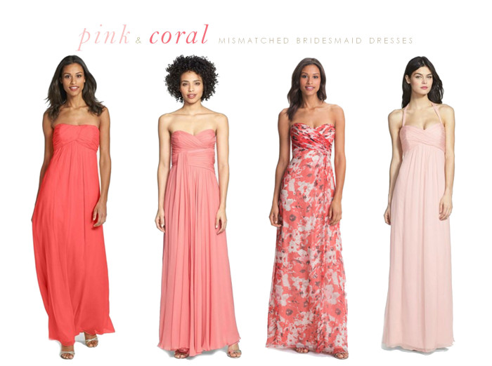 pink with coral mismatched bridesmaid dresses