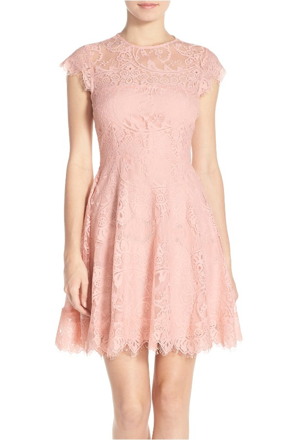 Cute Pink Lace Dress for Semi Formal Barn Wedding