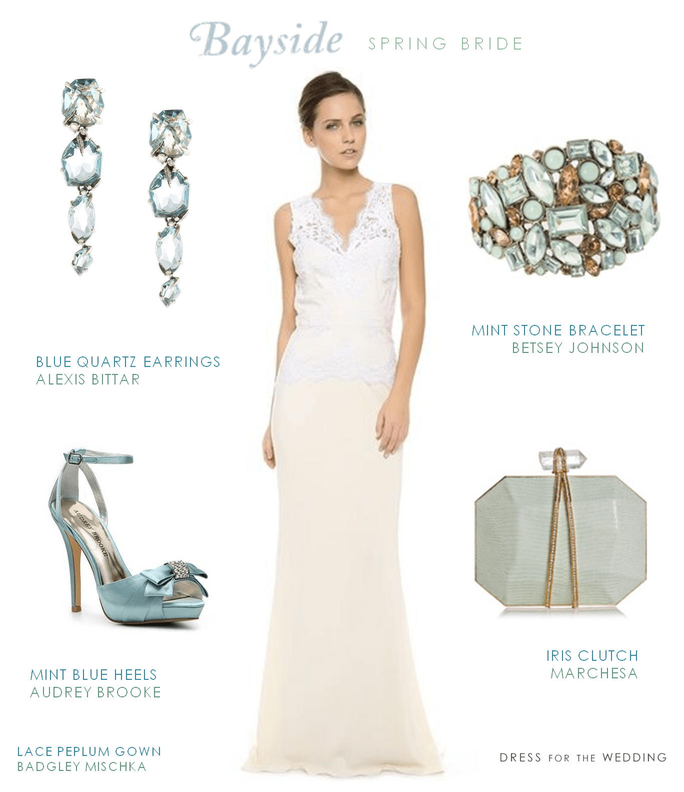 Lace Wedding Dress with Keyhole Back and Light Blue Accessories