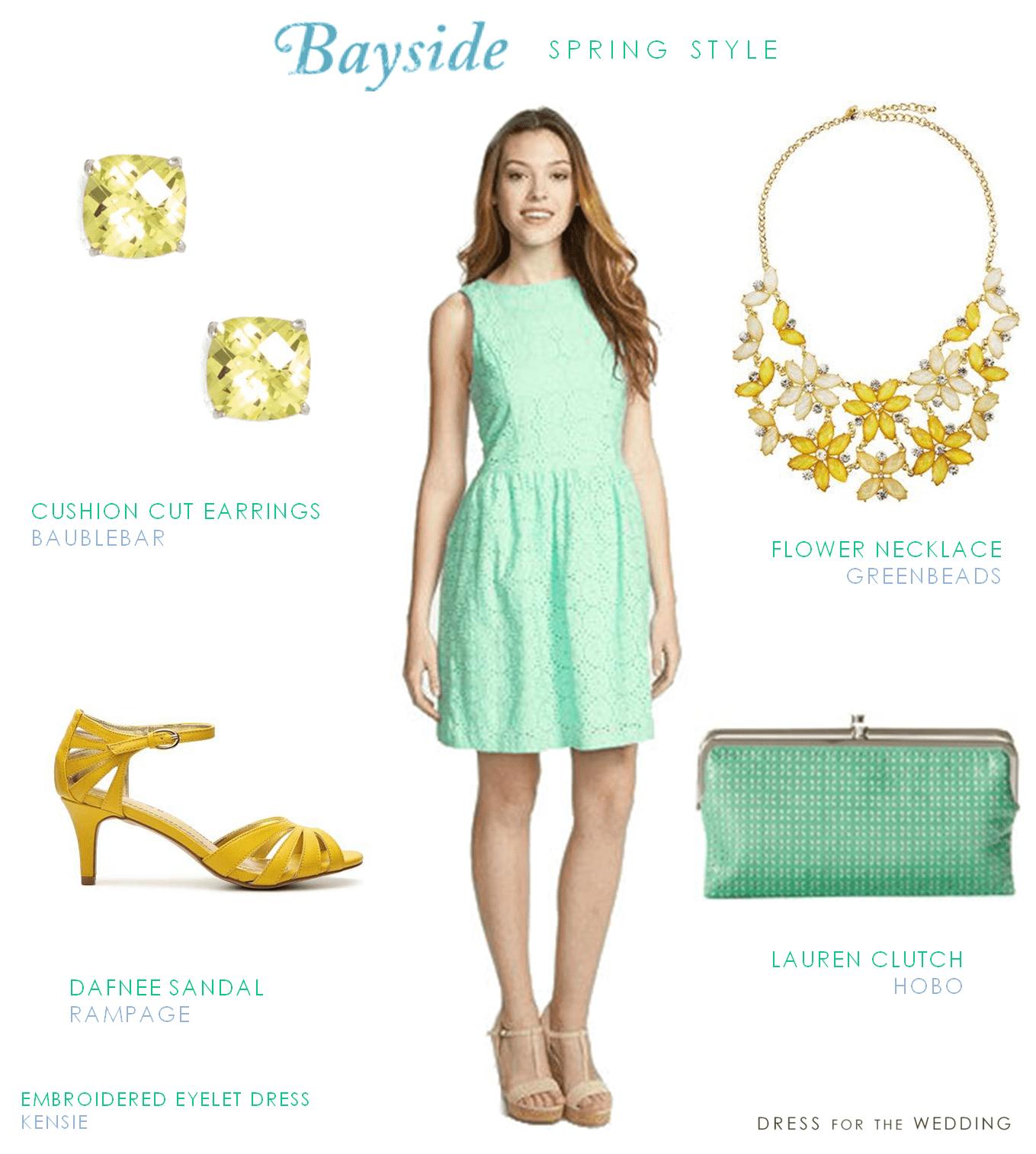 Mint Cotton Eyelet Dress