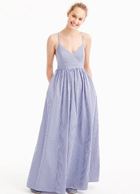 Gingham Gown for Wedding Guest of Outdoor Rustic Wedding