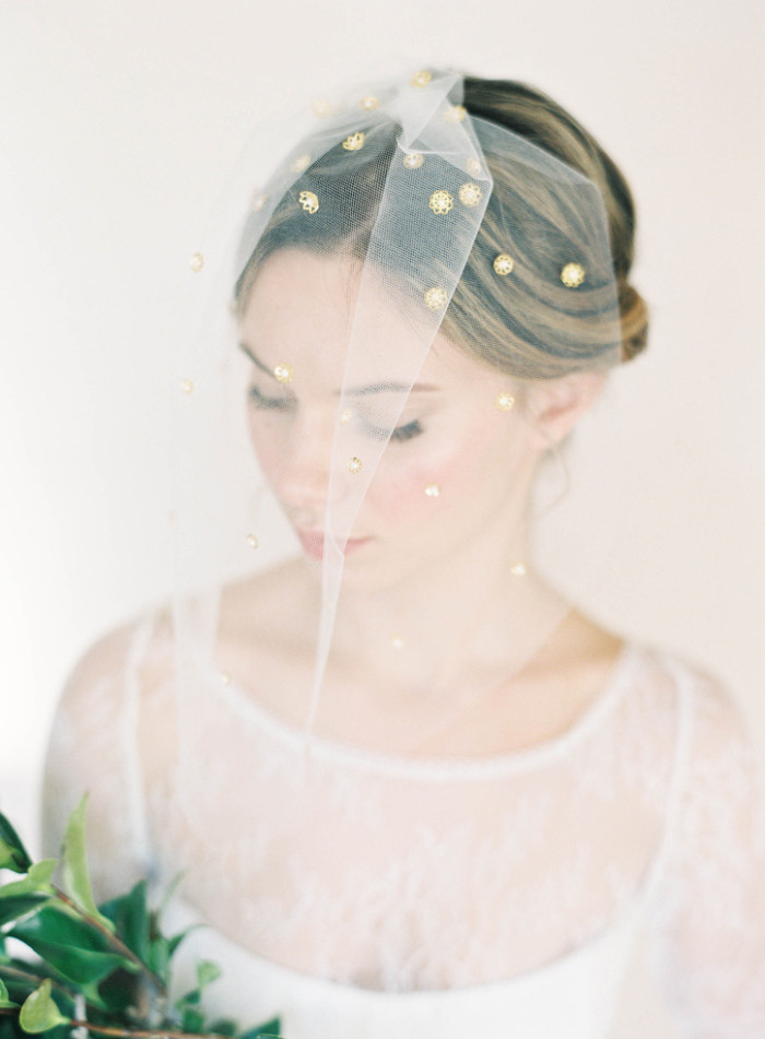 blusher veil with gold dots campbell by hushed commotion