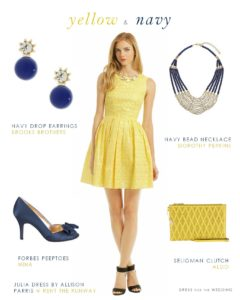 yellow dress with navy accessories