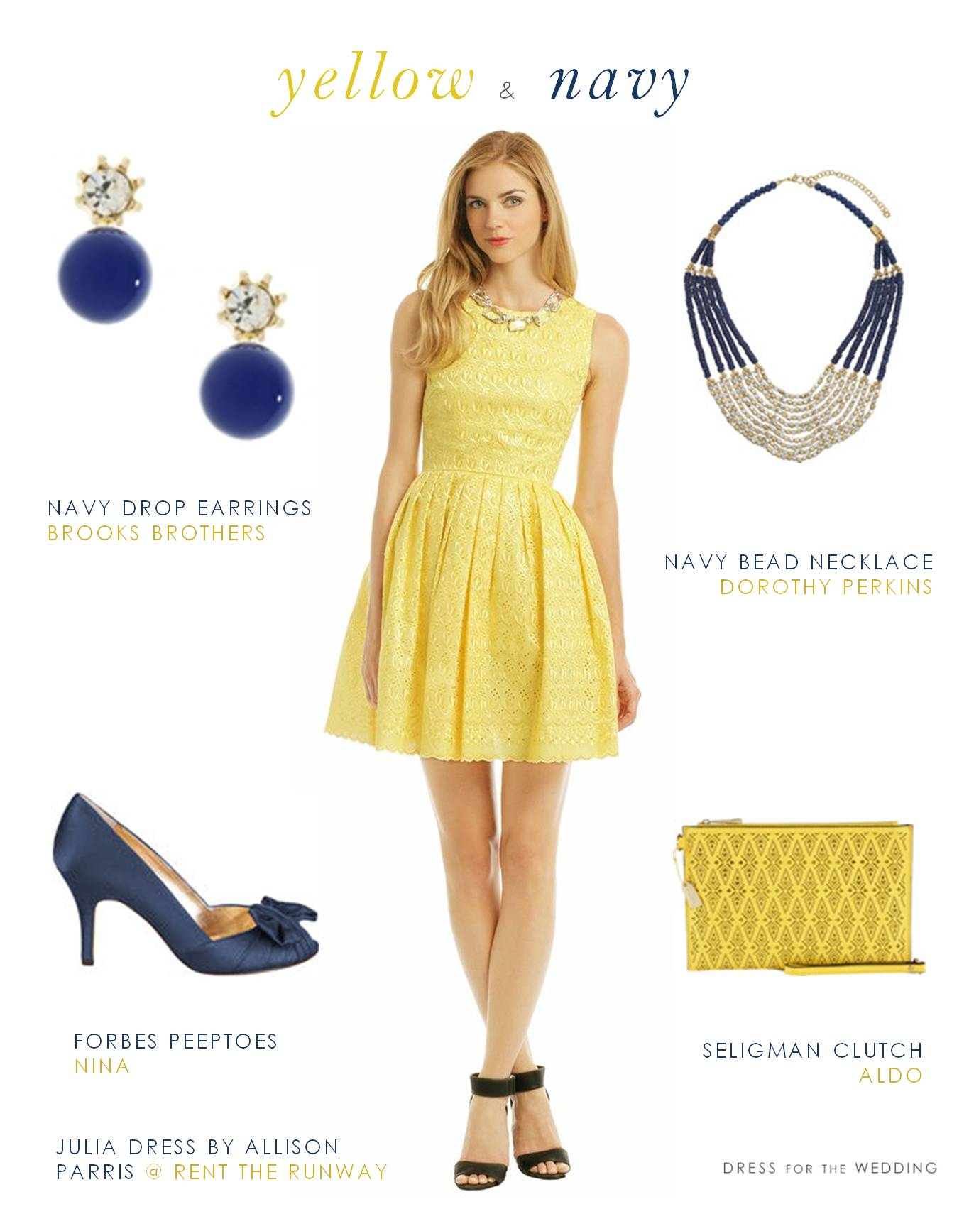 Yellow dress with navy accessories for Yellow dresses for weddings