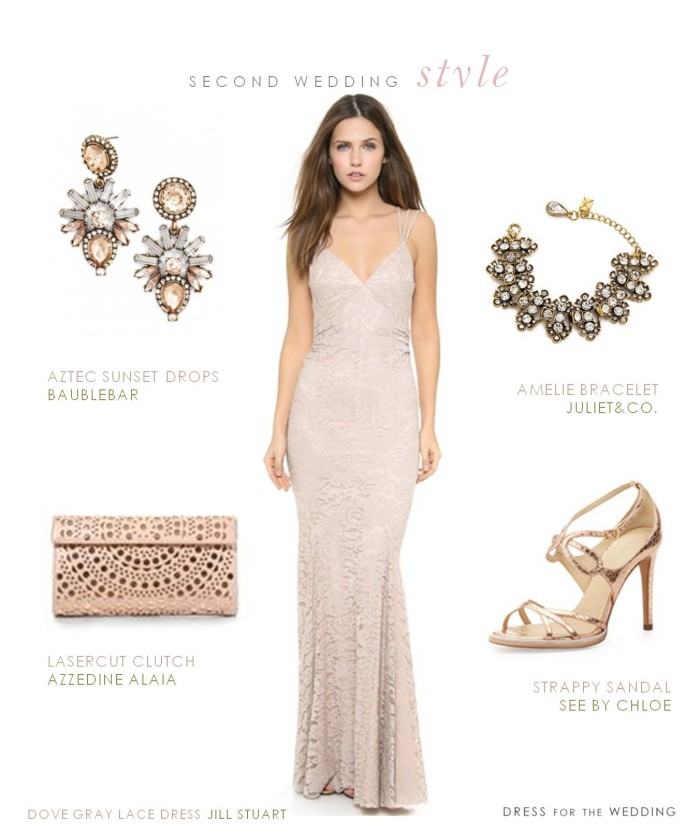 Dove gray lace dress with rose gold accessories for a second wedding