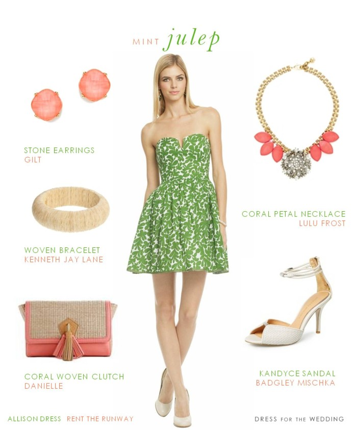 Green and white printed dress for a wedding