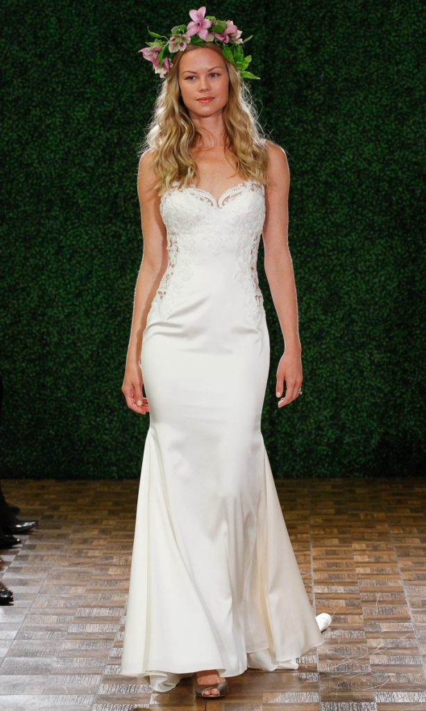 Cora style 53313 Ivory, lace, stretch satin fitted dress with illusion cutouts *size 00-15