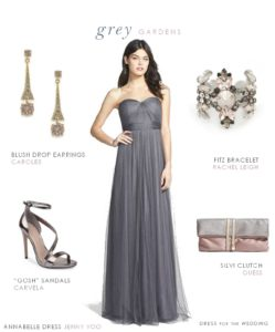Full Length Grey Bridesmaid Dress