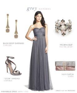 Long grey bridesmaid dress