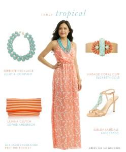 Coral Printed Maxi Dress
