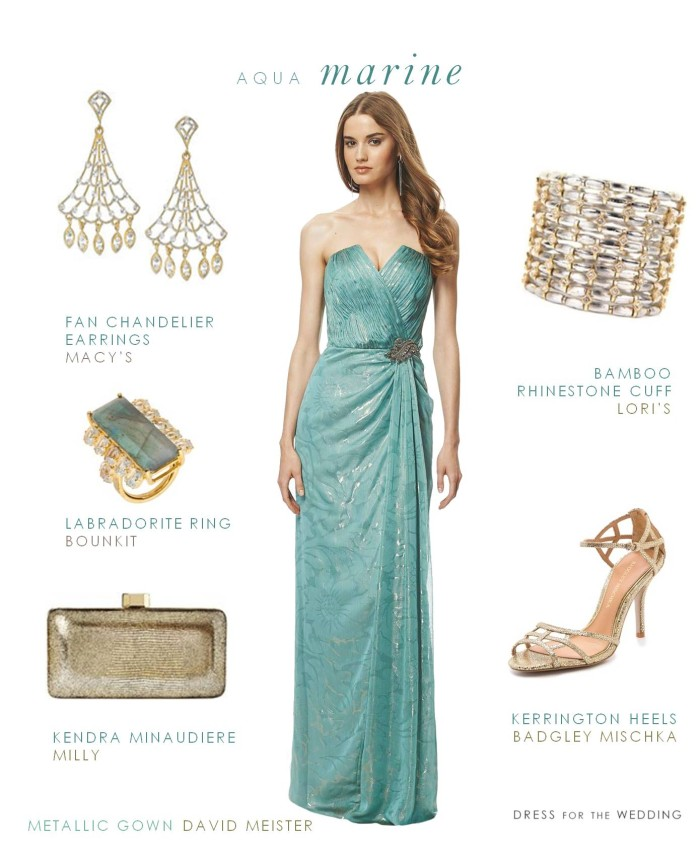 Aquamarine Evening Gown , Gown for a Black Tie Wedding