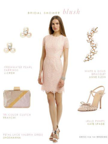 Blush Lace Dress Bridal Shower Dress