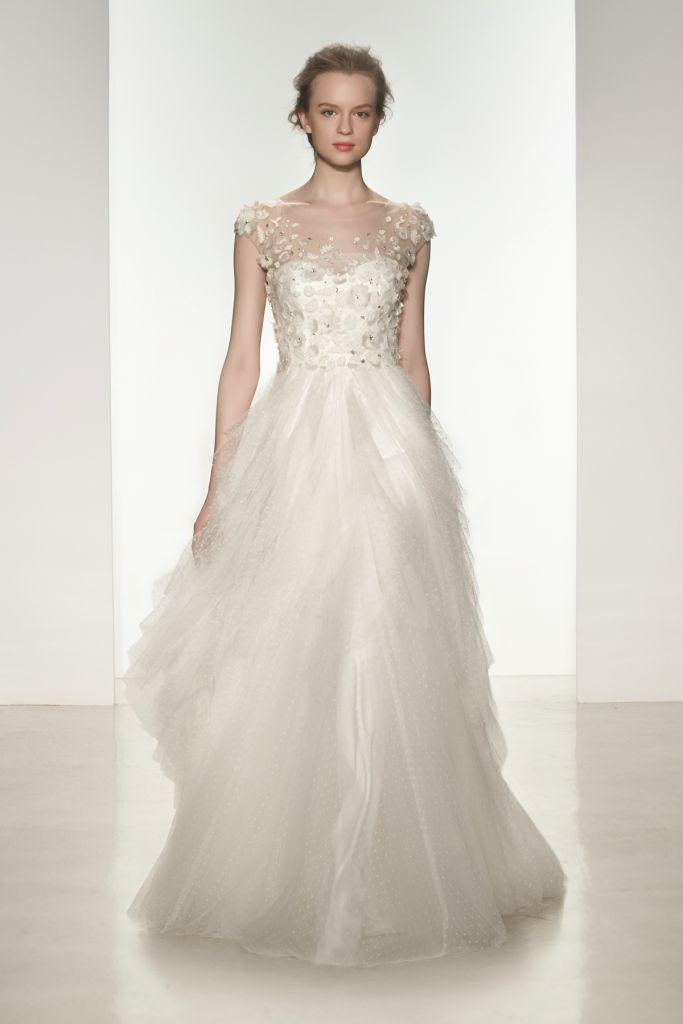 Lola | Christos Spring 2015, a point d'esprit wedding gown