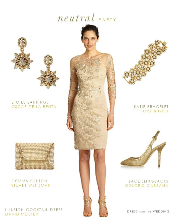 Neutral Dress For The Mother Of The Bride Gold Cocktail