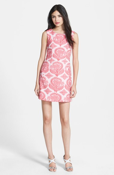 Pink and White DVF dress