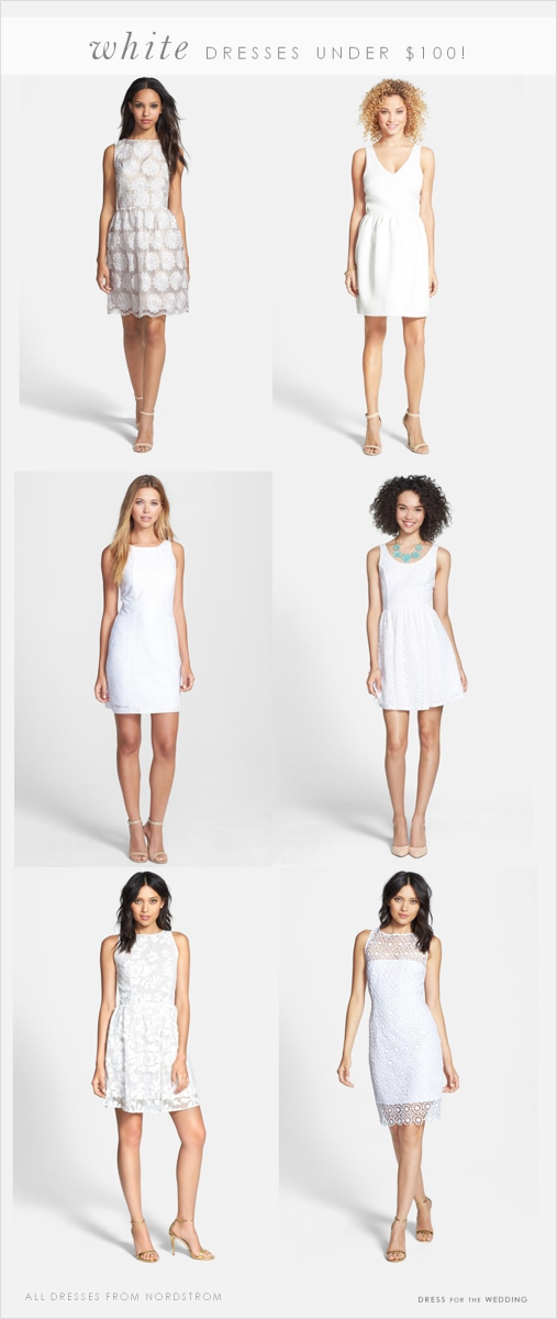 classic white dresses under $100