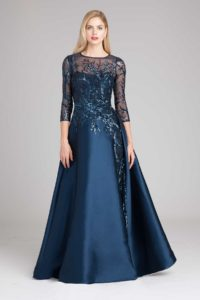 navy blue formal gown for mother of the bride