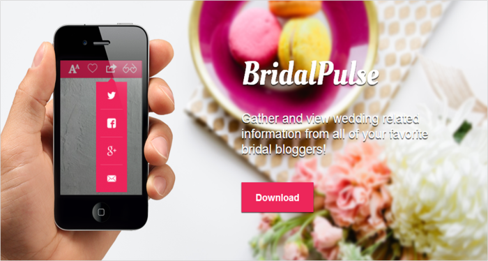 BridalPulse App is the top wedding planning app featuring top wedding blogs